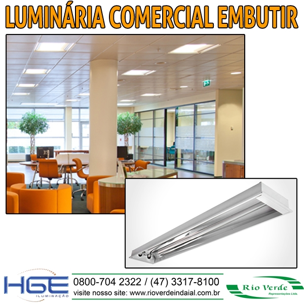 Luminária Comercial de Embutir - HGE Iluminação