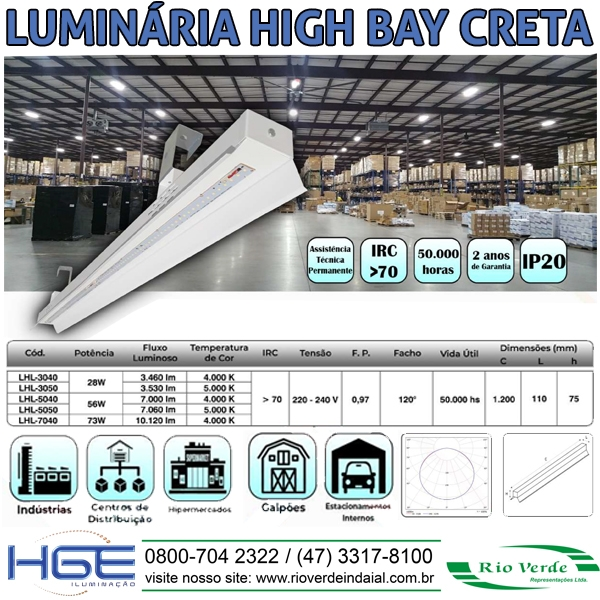 Luminária High Bay Creta - HGE Iluminação