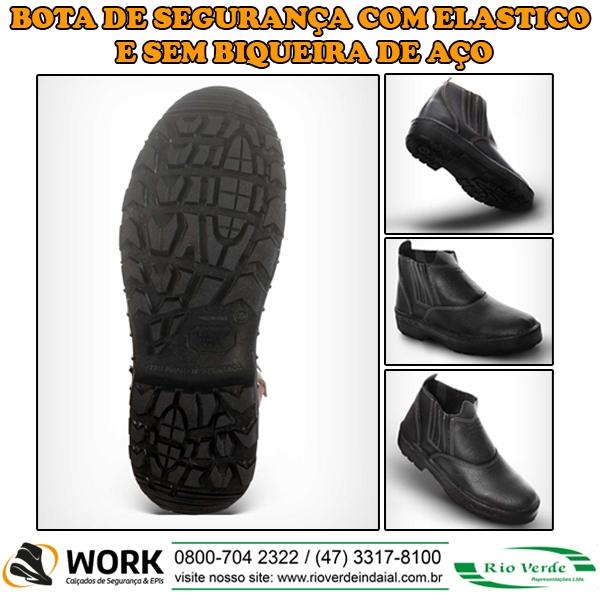 Bota de Segurança com Elástico e sem biqueira de aço - Work Calçados e Epi's